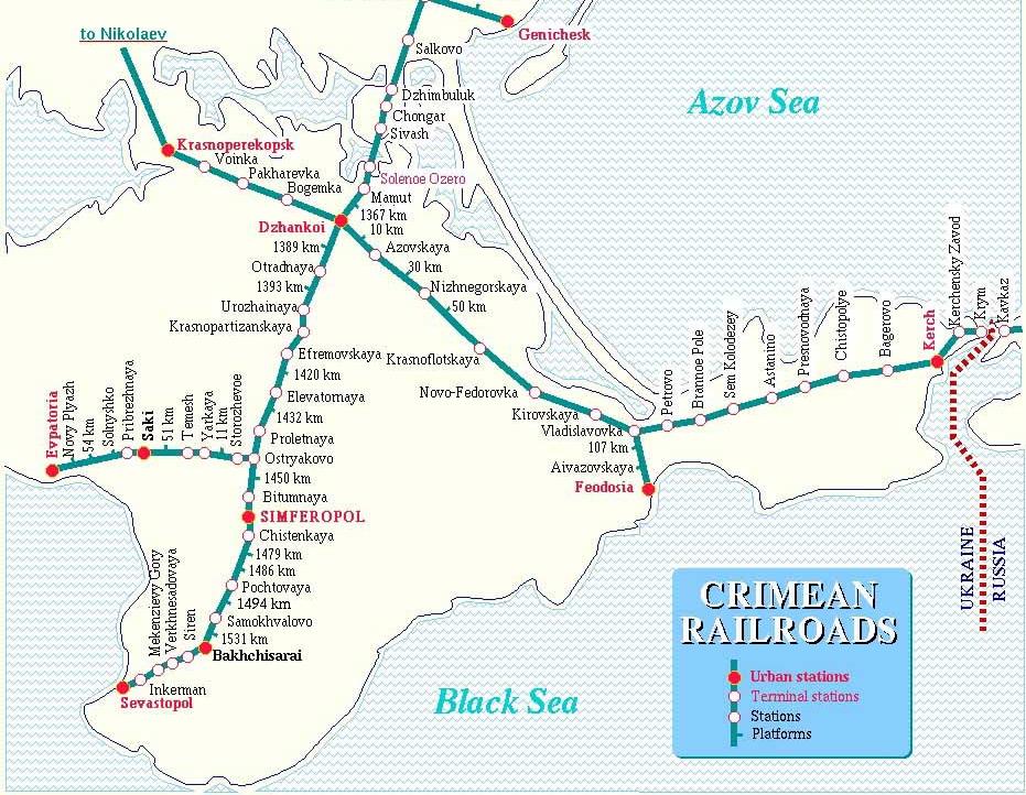 Карта Крымской железной дороги